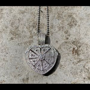 Jewelry - Heart Locket Necklace 14K White Gold and Diamonds